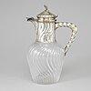 Vinkanna, silver och glas,  rokokostil. frankrike, paris, 1800-talets andra hälft.