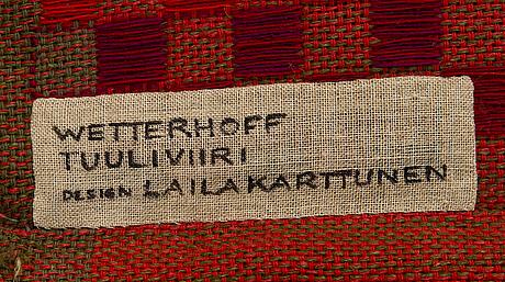 A wall textile by laila karttunen, wetterhoff/tulliviiri, finland.