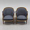 A pair of armchairs, louis xvi-style, first half of the 20th century.