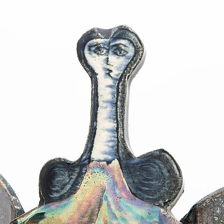 """Birger kaipiainen, skulptur, keramik, """"harpspelande ängel"""" signerad kaipiainen. arabia 1966-1968."""