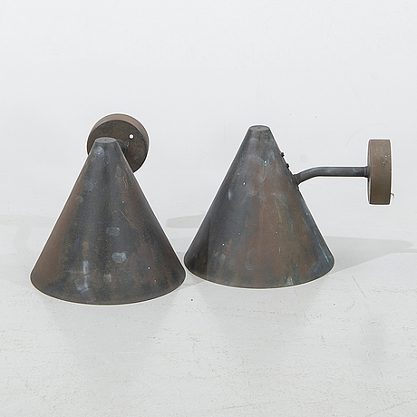 """Hans-agne jakobsson, two """"tratten"""" wall lamps, markaryd, later part of the 20th century."""