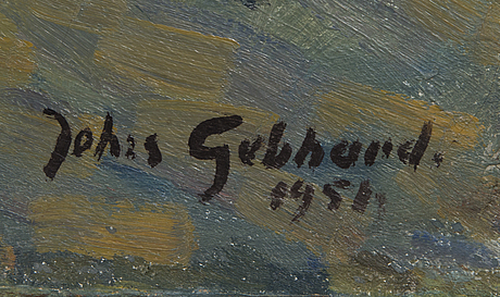 Johannes gebhard, oil on canvas, signed and dated 1958.