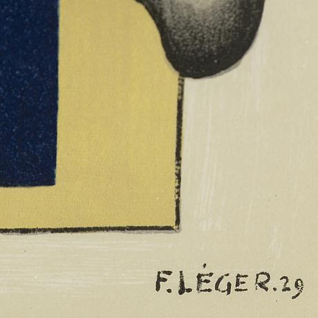 Fernand lÉger, efter, färglitografi, sigenrad och daterad 29 i trycket, ur derrière le miroir nr 79-80-81 1955.