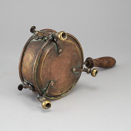 An 18th century brass brazier.