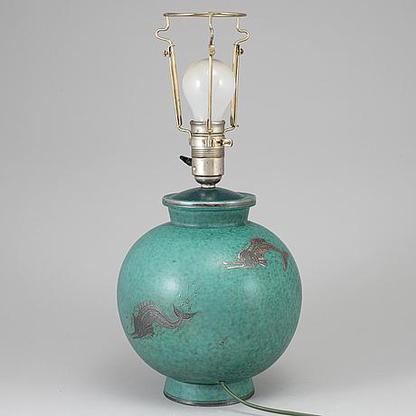 Wilhelm kÅge, an 'argenta' stoneware table lamp, gustavsberg.