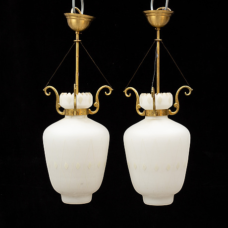 A pair of 1940's ceiling lamps.