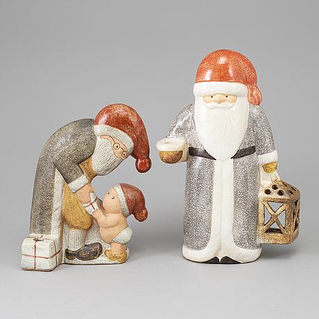 Lisa larson, two stoneware figurines, k-studion, gustavsberg.