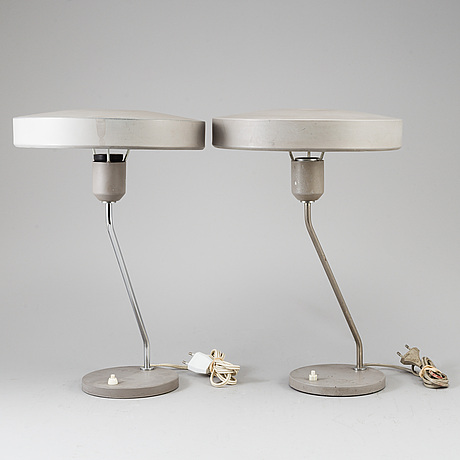 Bordslampor, ett par, louis christian kalff, philips, holland.