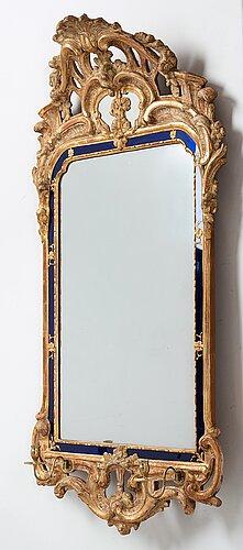 A swedish rococo two-light girandole mirror by johan Åkerblad, dated 1769.