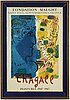 "Marc chagall, after, lithographic poster, ""le profil bleu"",1967."