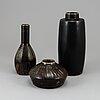 Carl-harry stÅlhane, three stoneware vases from rörstrand ateljé.