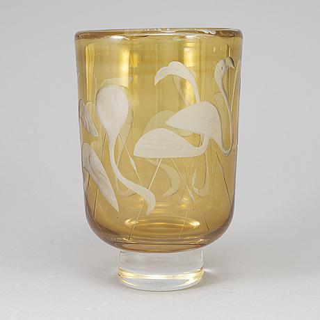 A vicke lindstrand engraved glass vase, kosta, sweden 1950-60's.