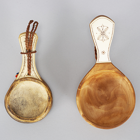 Two sami drinking cups, birch and reindeer horn, signed h.f. and te.