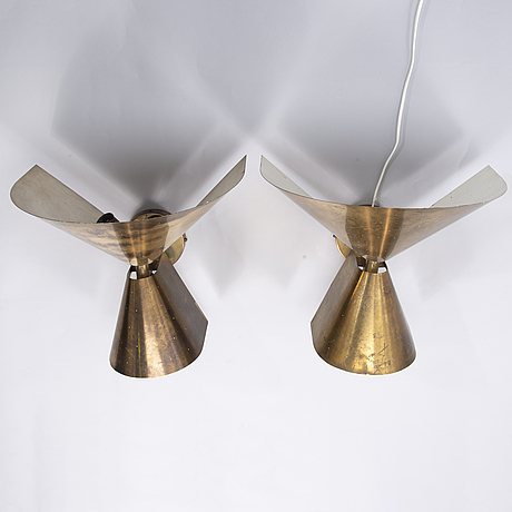 Paavo tynell, a pair of mid-20th century wall lights for taito/idman finland.