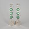 Sigurd persson, a pair of silver plate and aventurine candlesticks from svenskt tenn.