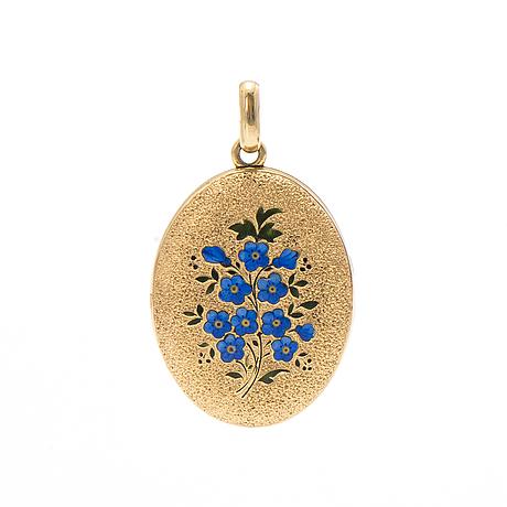 Medaljong, 14-18k guld, emalj.