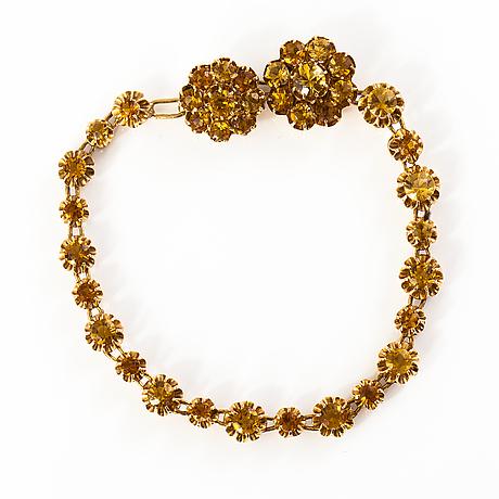 T. tillander, korusetti, 14k kultaa, sitriinejä, helsinki 1981.