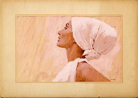 YrjÖ edelmann, gouache, 1960-tal, signerad.
