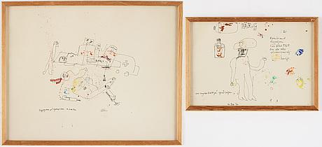 Two signed mized medias by madeleine pyk.