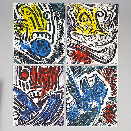 A bengt lindström folder with four lithographs and a book, signed and numbered 30/200.