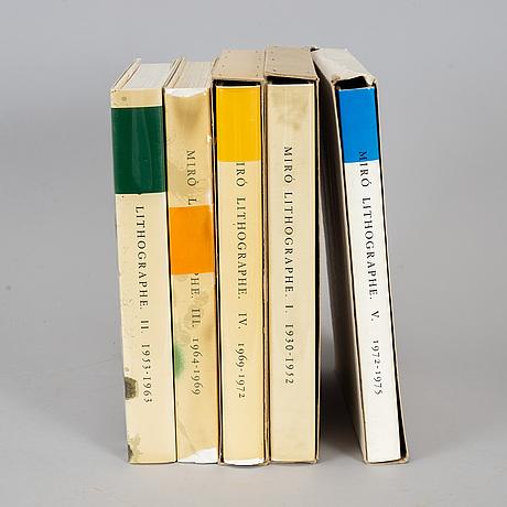 "Joan mirÓ, books,""miró lithographe"", vol. i-v, 1972-1992."