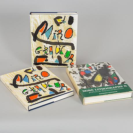 Joan mirÓ, books, miro graveur i-ii 1984-1989 and miró lithographe ii, 1975.