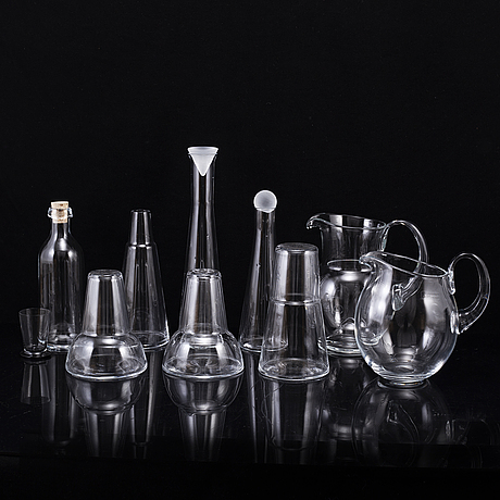 Ingegerd rÅman, 9 glass items from skruf.