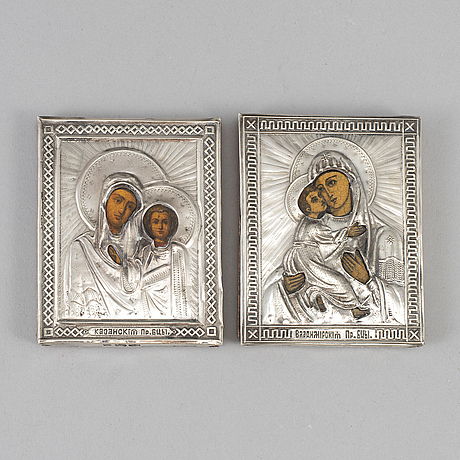 Two russian late 19th century silver icons, unidentified makers mark, st. petersburg 1890.