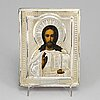 A russian early 20th century parcel-gilt silver icon, unidentified makers mark, moscow 1899-1908.