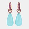 18k gold, pink sapphire and blue agat earrings.