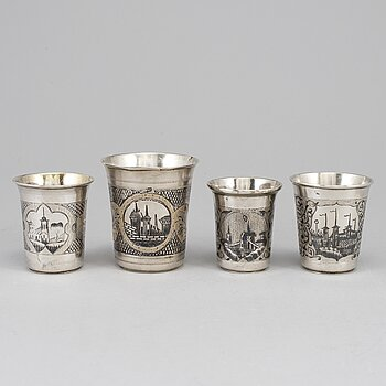 A set of four Russian 19th century silver and niello vodka cups, Moscow.