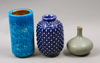 Vaser, 3 st, stengods, nylund resp stålhane, rörstrand.