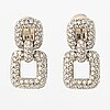 A pair of 18k white gold earrings with 230 brilliant cut diamonds, ca. 4.07 ct in total.