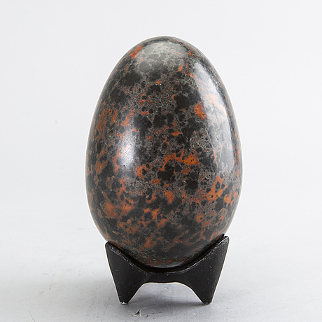 Hans hedberg, a faience sculpture in shape of an egg, biot, france.