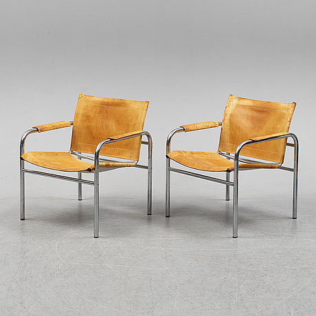 A pair of late 20th century  'klinte' easy chairs by tord björklund, for ikea.
