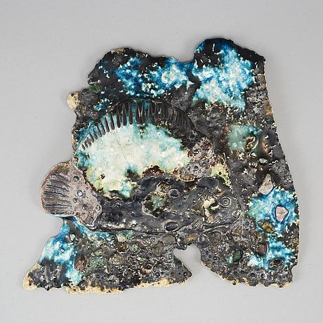 BÖrje skohg, relief och del av keramikplatta, gustavsberg, sweden mid 20th century.