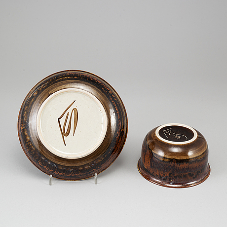 Carl-harry stÅlhane, a stoneware bowl and a plate, designhuset.