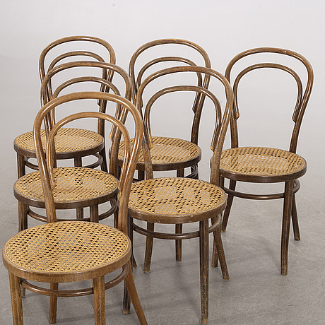 6 chairs, thonet-style, second half of the 20th century.