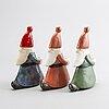 Lisa larson, tomtar, figuriner/ljusstakar, 3 st, stengods, gustavsberg.
