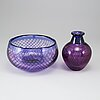 "Sven palmqvist, a ""kraka"" glass vase and a bowl, orrefors, sweden post 1960."