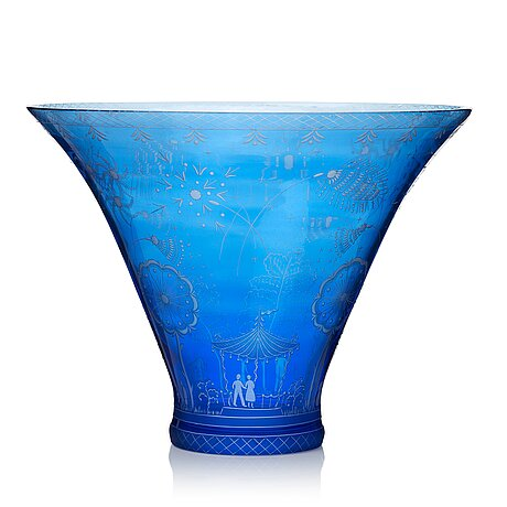 "Edward hald, a swedish grace engraved glass bowl, ""fyrverkeriskålen"" (fireworks), orrefors, sweden 1966."