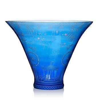 "13. Edward Hald, a Swedish Grace engraved glass bowl, ""Fyrverkeriskålen"" (Fireworks), Orrefors, Sweden 1966."
