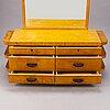 Birger hahl, a 1930s drawer dresser with mirror and a stool for j. kutvosen huonekalutehdas, suonenjoki.