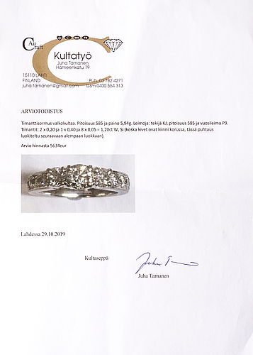 A 14k white gold ring with diamonds w/si, ca. 1.2 ct in total. kultajousi 2016.
