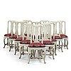Twelve matched swedish rococo chairs, 18th century.