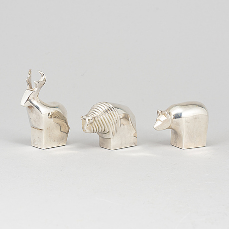 Three electro plated zinc figurines from dansk designs, japan.