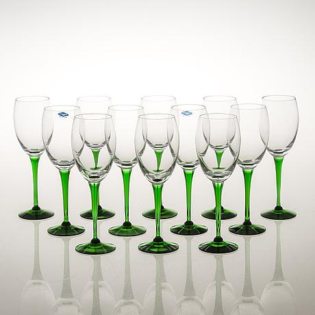 Saara hopea, a set of 12 'traviata' wine glasses model 1122, nuutajärvi, 1980s.