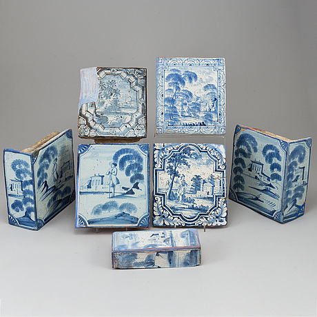 Seven dutch ceramic tiles, 18th century.
