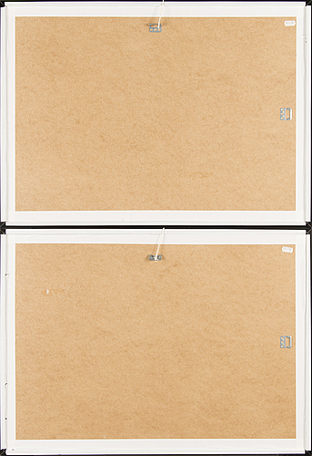 "Joan mirÓ, 2 st originalfärglitografier ur ""miró lithographe ii""."