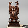 A large chinese wooden sculpture of happy buddha, 20th century.